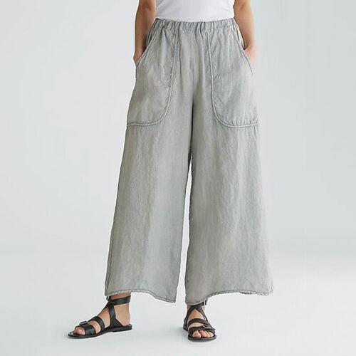 Women High Waist Wide Leg Cotton Linen Trousers Ladies Baggy Culotte Pants 10-16