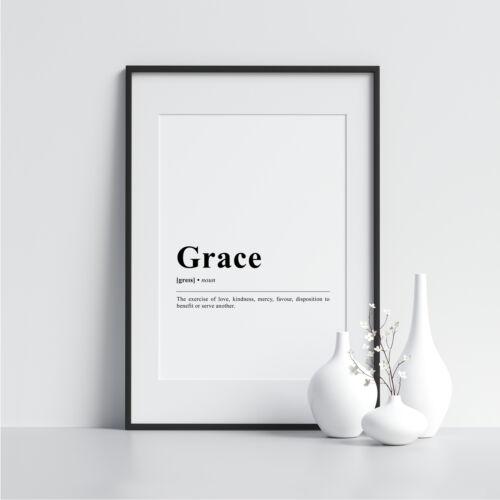 Grace Funny Definition New Home Print Wall Prints Scandi A5 A4 A3