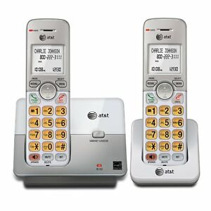 AT-amp-T-2-Cordless-Phone-System-with-Caller-ID-DECT-6-0-Silver-EL51203-LN