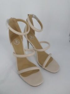 Missguided Nude Rounded Three Strap Barely There Heels UK 8 EU 41 LN19 13