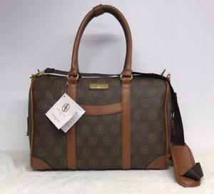 Image is loading ADRIENNE-VITTADINI-Signature-Travel-Duffle-Bag-Chocolate- Gym- 6050b3c966651