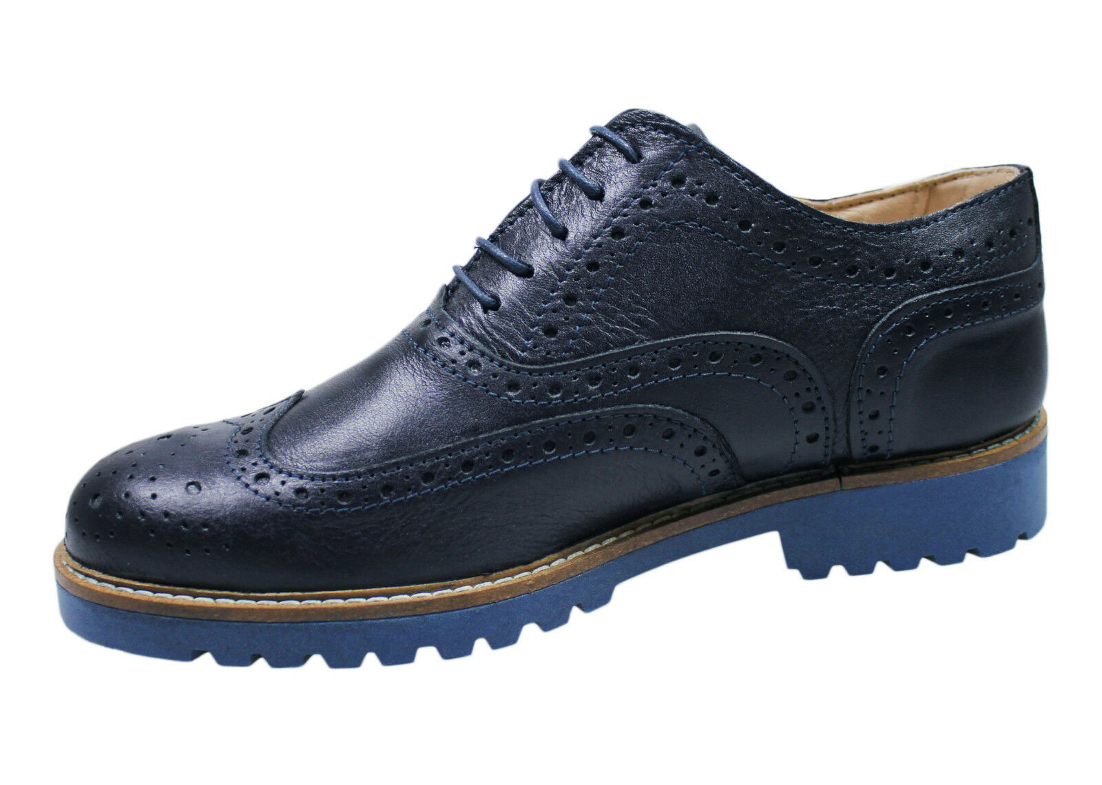 SHOES OXFORD MAN DIAMOND DARK blueE REAL LEATHER CASUAL ELEGANT da 39 a 45