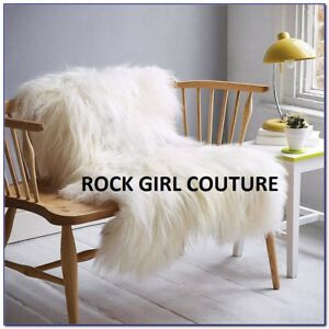 Furry-Blanket-Throw-White-Huge-55-034-x-70-034-Like-Pier-one-Chic-Faux-sheep-hair