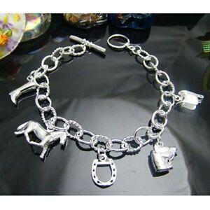 ASAMO-Damen-Bettelarmband-Armband-5-Pferde-Motive-925-Sterling-Silber-plattiert
