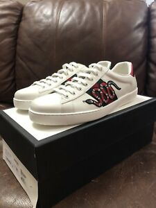 Gucci-Men-039-s-Ace-Embroidered-Sneaker-Snake-White-Green-Red-Sz-10-5