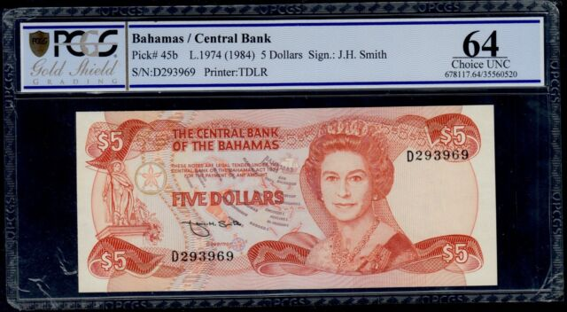 BAHAMAS  5  DOLLARS  L. 1974 ( 1984 )    PICK # 45b  PCGS 64 CHOICE UNC.