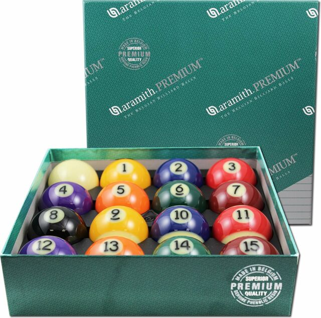ARAMITH PREMIUM BRAND NEW BELGIAN STYLE POOL TABLE BILLIARD GAME BALL SET 2 1/4""