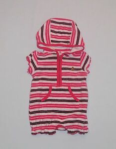 ab2a85aa9c Baby Gap Hooded Terry Cloth Pink Striped Short Romper Swim Cover Up ...