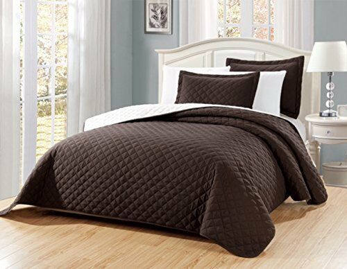 Fancy Linen 3pc Oversize Solid Brown Diamond Quilted Bedspread All Sizes New