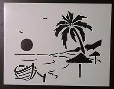"Beach Boat Sun Birds Palm Tree 8.5"" x 11"" Custom Stencil FREE SHIPPING"