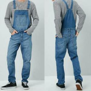New-Men-straight-casual-Denim-pants-strap-overalls-Bib-suspender-Jeans-Trousers