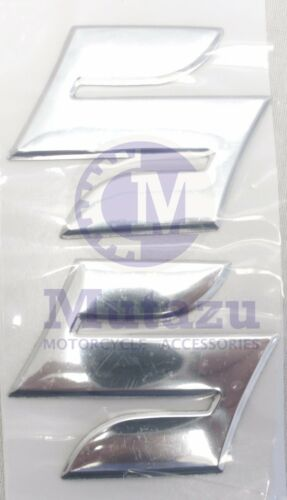 "pair Chrome Emblem Badge Decal 3D Tank Wheel Logo /""S/"" Sticker for Suzuki"