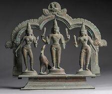 Alte Bronze Trias Vishnu, Shiva, INDIEN Buddha  23 cm antique Yoga