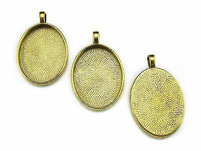 50 Oval Pendant Trays - 22x30mm - Antique Gold Color - Blanks Bezel Setting