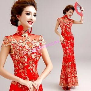 Womens-Red-Lace-Embroidery-Mermaid-Qipao-Prom-Party-Wedding-Ball-Gown-Dress-Sexy