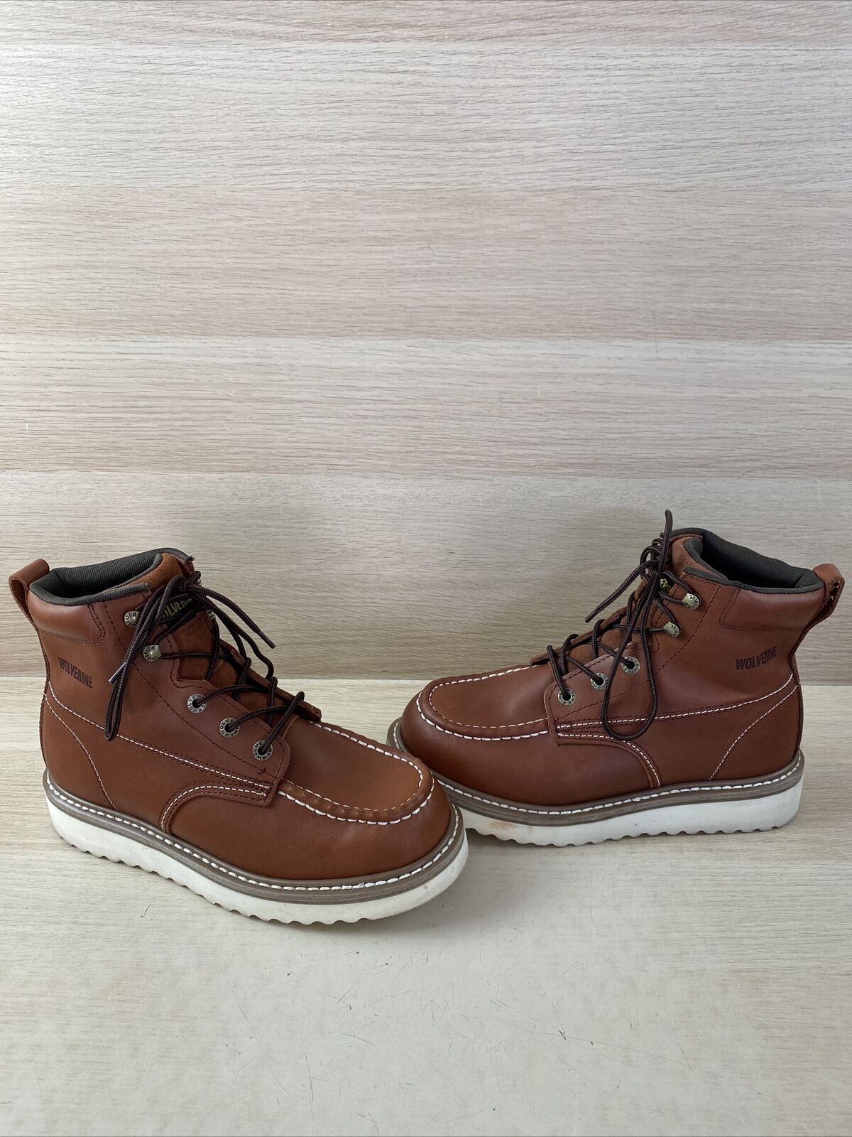 WOLVERINE Brown Leather Lace Up Moc Toe Work Boots Men's Size 8.5 W