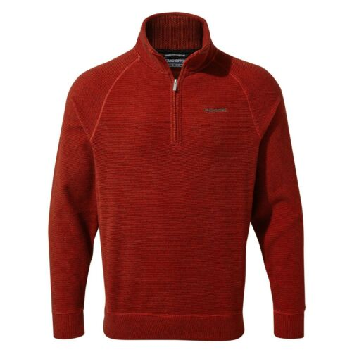 Craghoppers Homme Leto Half Zip Aster Rayure Rouge CMA1266