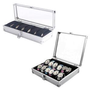 Nouveau-6-12-grilles-Slots-Bijoux-Montres-alliage-d-039-aluminium-affichage-Box-Storage-Case