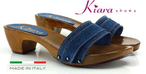 Made in Italy 35 al 42 tacco 5 cm KM5101 Zoccoli DENIM