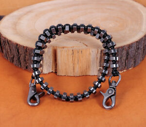 SteamPunk-Rock-Biker-Nuts-Black-Rope-Braided-Heavy-Trucker-Key-Jean-Wallet-Chain
