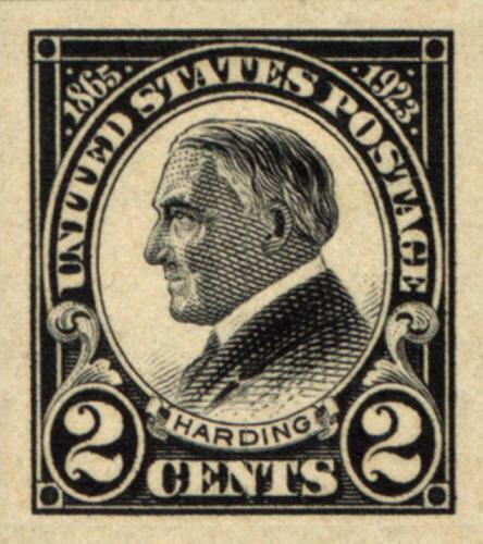 1923 2c Warren G. Harding, Black, Imperforate Scott 611