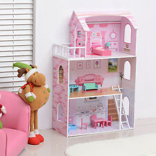 HOMCOM Wooden Kids Doll House With Furniture Dream House Playset NEW Pink MDF