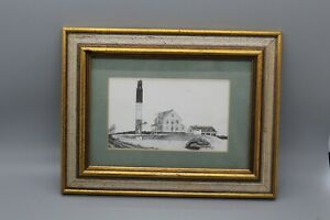 Signed-Frank-Hewitt-Lithograph-Pencil-Print-Framed-and-Matted-Lighthouse-Seaside