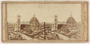 Florence Italia Foto Alphonse Bernoud Stereo Th1L6n8 Vintage Albumina c1870