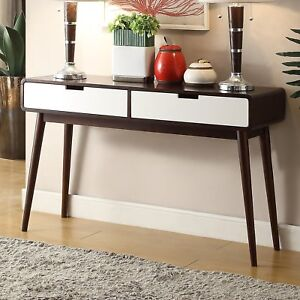 Details about Walnut Finish Wood Mid Century Modern Retro Console Sofa  Table Furniture Storage
