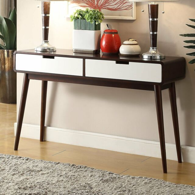 Sensational Walnut Finish Wood Mid Century Modern Retro Console Sofa Table Furniture Storage Creativecarmelina Interior Chair Design Creativecarmelinacom