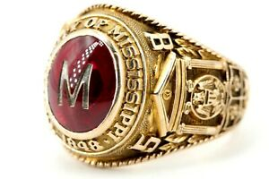 College-Ring-Gr-58-10K-Gold-417-Gelbgold-mit-roten-Stein-Mississippi-1848-1958