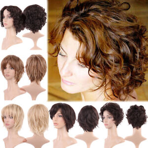 Highlight Blonde Short Curly Wavy Full Hair Wig Blonde Brown Party