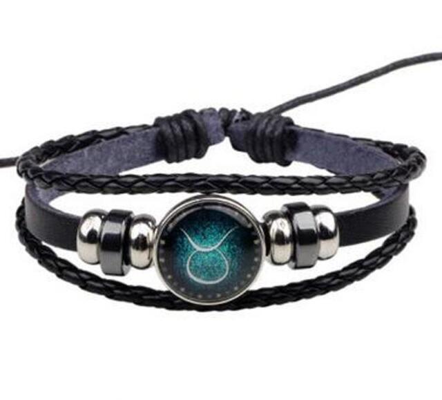 Mens Women Twelve Constellation Round Tungsten steel Leather Handmade Bracelet