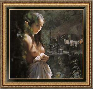 Hand-painted-Original-Oil-Painting-art-Portrait-nude-girl-on-Canvas-30-034-x30-034