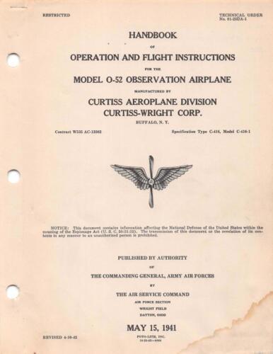 1941 AAF CURTISS O-52 OWL OBSERVATION AIRCRAFT PILOTS FLIGHT MANUAL HANDBOOK-CD