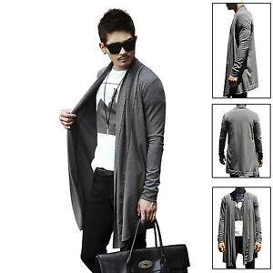 Men Stylish Draping Long Sleeve Cardigan Open Front Casual Coat ...