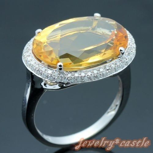 OVAL CUT NATURAL CITRINE DIAMOND JEWELRY ANNIVERSARY RING Solid 10K White gold