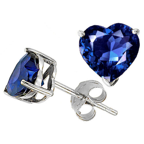 1.00-3.00 CARAT 14K WHITE GOLD PLATED OVER SILVER HEART SAPPHIRE STUD EARRINGS
