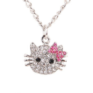 Charming-Cute-CAT-Pendant-white-Crystal-silver-chain-Necklace-jewelry