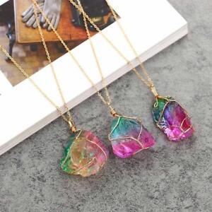 Modeschmuck-Kristall-Regenbogen-Stein-Chakra-Rock-Halskette-Quarz-Anhaenger-Natur