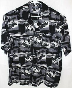 5534f2ff Puritan Men's Button-Up Short Sleeve Casual Hawaiian Shirt -Black ...