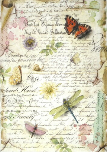Dragonflies and Butterflies Rice Paper for Decoupage Scrapbook Craft Sheet