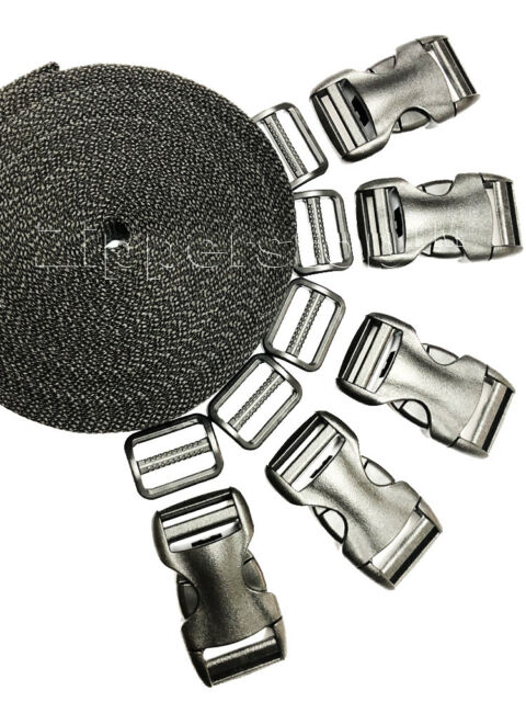 36 Pieces Side Release Plastic Buckles and Tri-glide Clip Webbing Slider 5//...