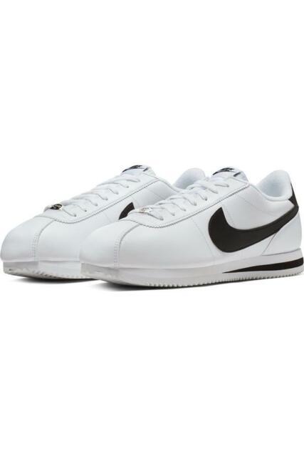 Men Nike Cortez Basic Leather White Black Metallic Silver 819719100  Original 11