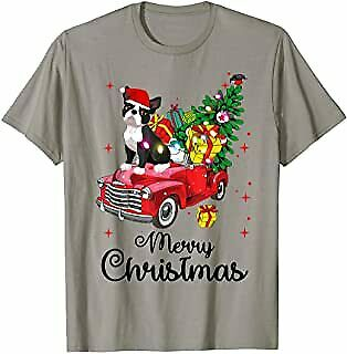 Boston terrier Ride Red Truck Christmas Pajama T-Shirt Vintage Men Gift Tee