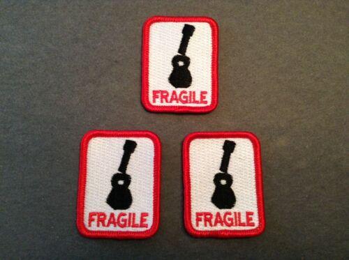 FRAGILE Patch for Ukulele or Guitar Case Set of 3 decal sticker embroidered
