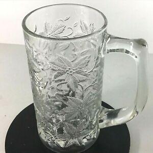 Princess-House-Fantasia-1-Crystal-Beer-Mug-Christmas-Holiday-Poinsettias-5222-LN