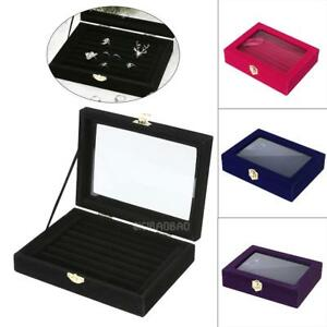 8-Rows-Ring-Earring-Jewelry-Display-Tray-Show-Case-Organizer-Storage-Holder-Lots