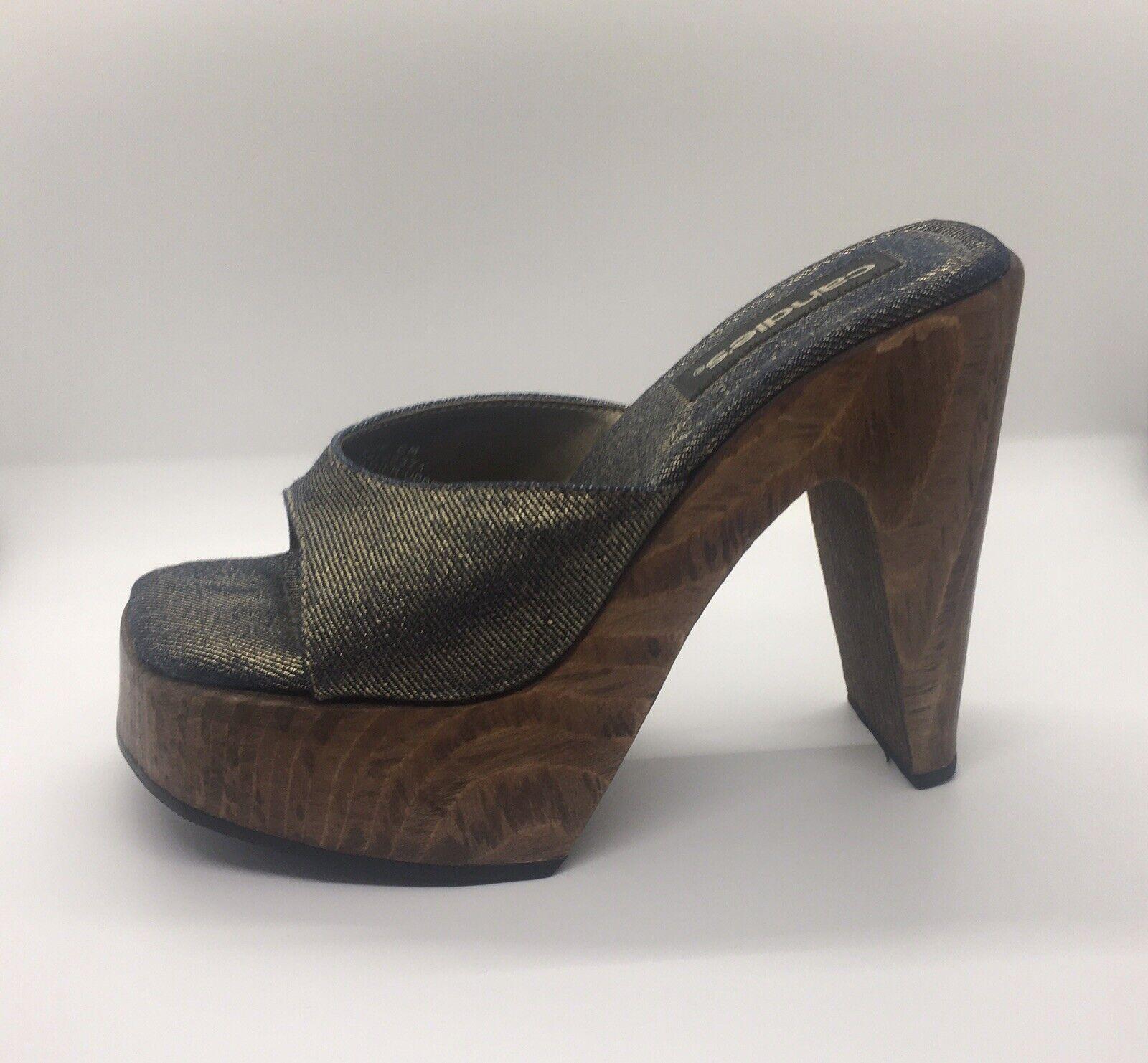 CANDIE'S Vintage 1990's Denim Platform Block Heel… - image 1