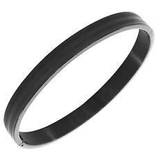 Stainless Steel Black Matte Polished Classic Oval Mens Bangle Bracelet